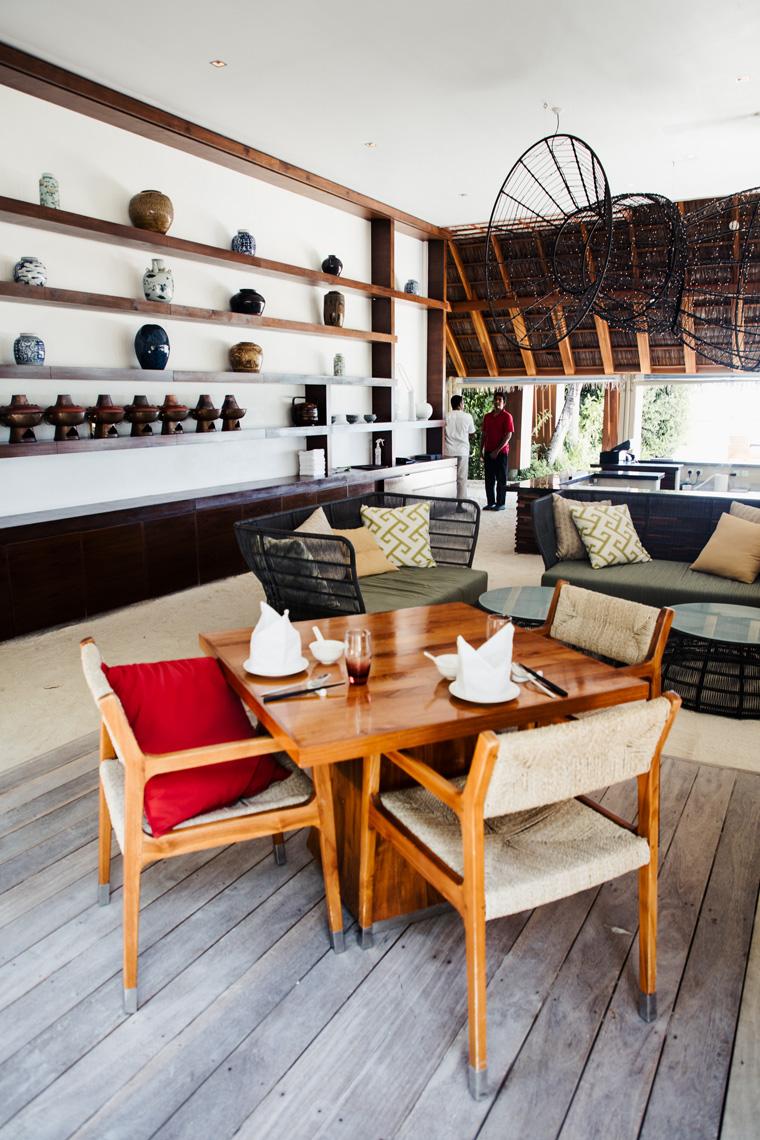 Table at the Chinese restaurant at the Conrad Maldives