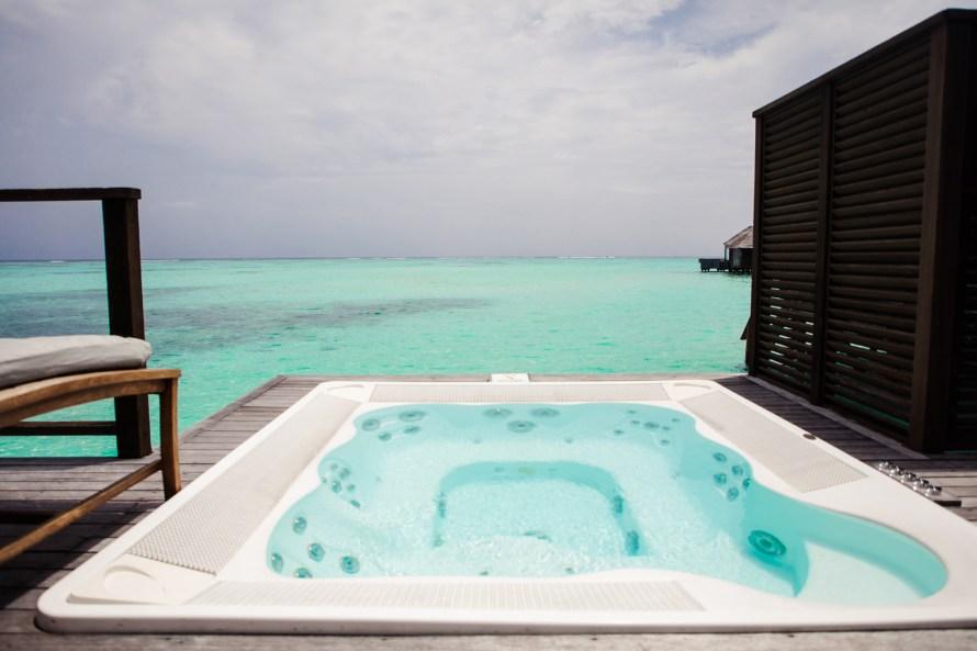 Hot tub overlooking lagoon