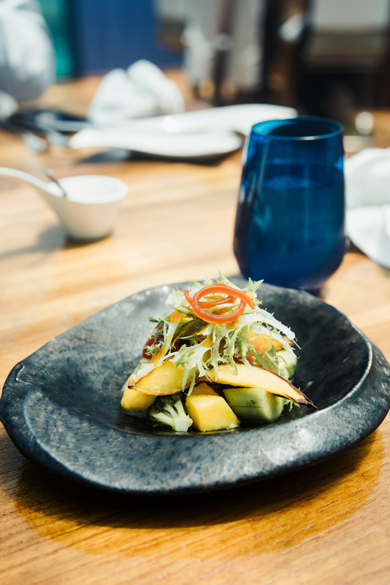 Nectarine salad in a stone bowl