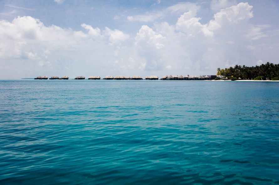 Overwater villas on a sunny day