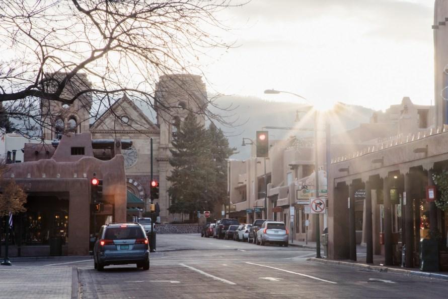 Santa Fe sunrise and church