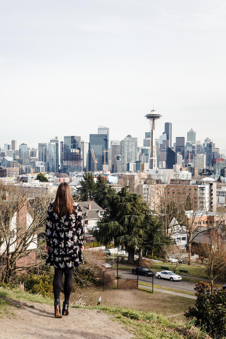 Carly looking at Seattle skyline