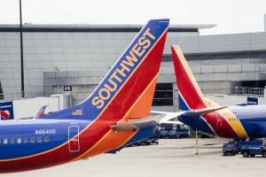 Southwest plane tails in Boston