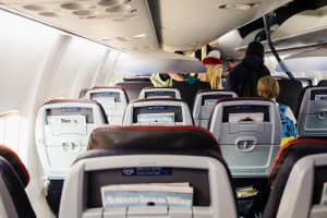 Rows of airplane seats