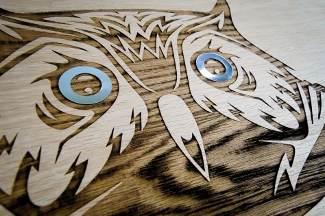 A closeup of the caffeinated owl before the wood was sealed.