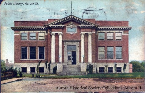 The Aurora Public Library, as built in 1904.  The image is for the collections of the Aurora Historical Society.