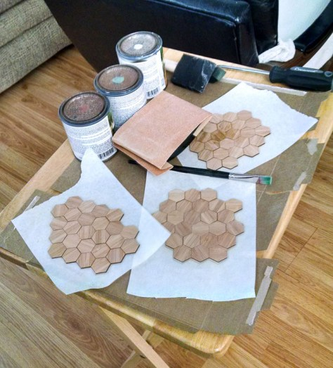 Hexes in groups, ready to stain!