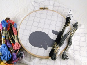 Hooped up, ready to stitch. Given this was my first real embroidery project, I was reluctant to start and screw it up!