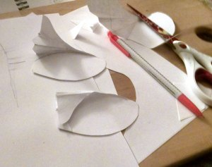 Paper attempts - I decided to ditch the bottom fold on the bottom ear for simplicity.