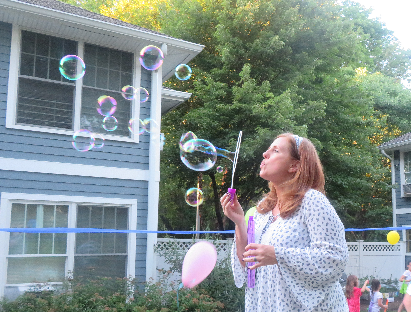 me blowing bubbles