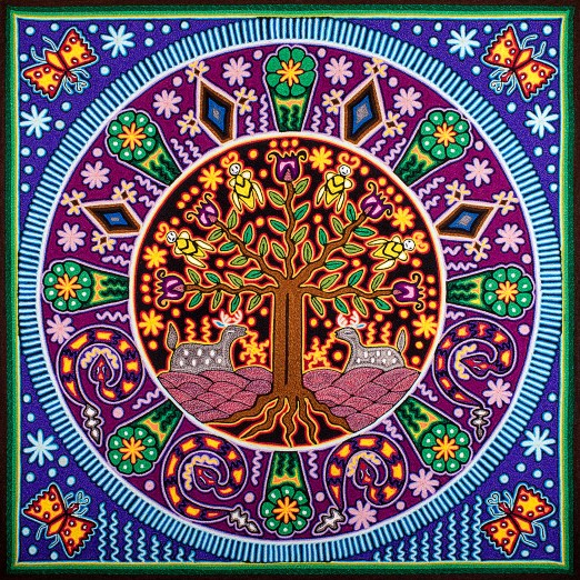 Etsy Tree of Life Huicholpainting11inches30cms