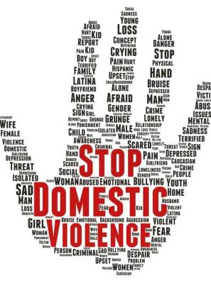 domestic abuse word hand