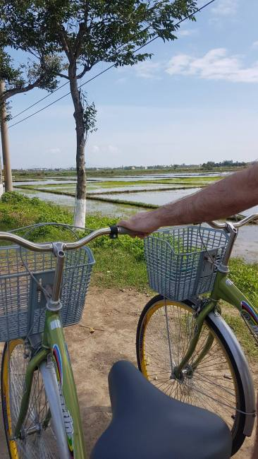Bicykle ride through rice fields to the beach