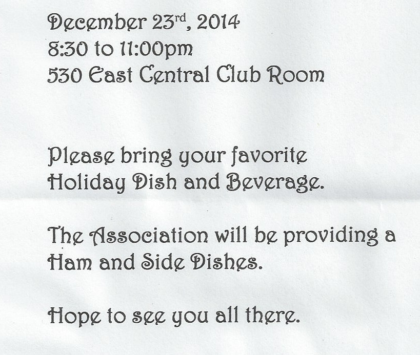 Condo Holiday Party – 8:30 on December 23rd