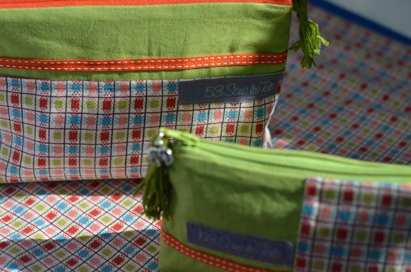 Trousse,Vert,Elephant,Tissu indien,carreaux colorés