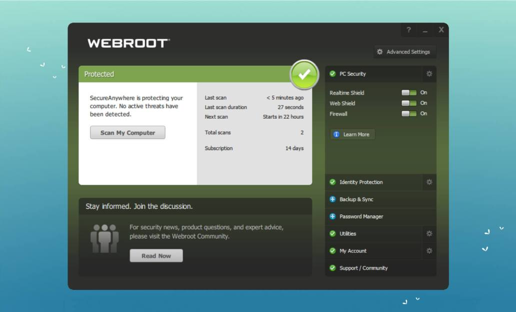 Webroot User Interface