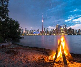 Bonfire at Ward Island