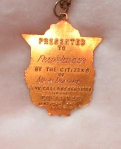 F.V. Webber WW1 Medal b