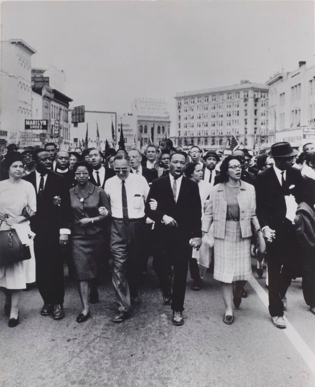 Moneta Sleet Jr. (American, 1926â??1996). Rosa Parks, Dr. and Mrs. Abernathy, Dr. Ralph Bunche, and Dr. and Mrs. Martin Luther King, Jr. leading marchers into Montgomery, 1965, printed circa 1970. Gelatin silver print, 13 3/8 x 10 3/4 in. (34 x 27.3 cm). Saint Louis Art Museum, Gift of the Johnson Publishing Company, 426:1991. © Johnson Publishing Company, LLC No altering or cropping, alterations allowed.