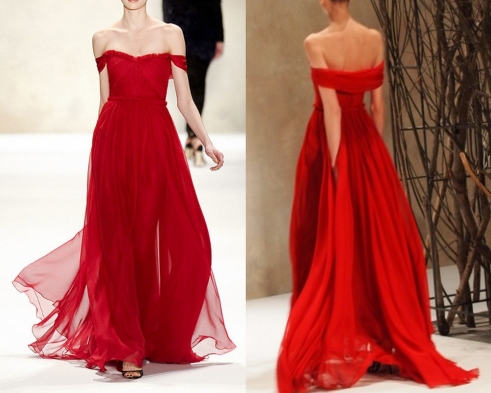 Sexy Off Shoulder Sleeves Red Prom Dress ,Chiffon Red
