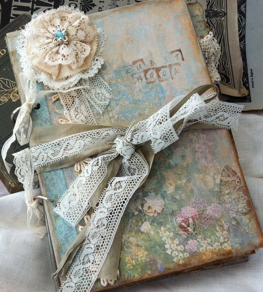 Lace Wedding Guest Book Vintage Cottage Style  Custom on Luulla
