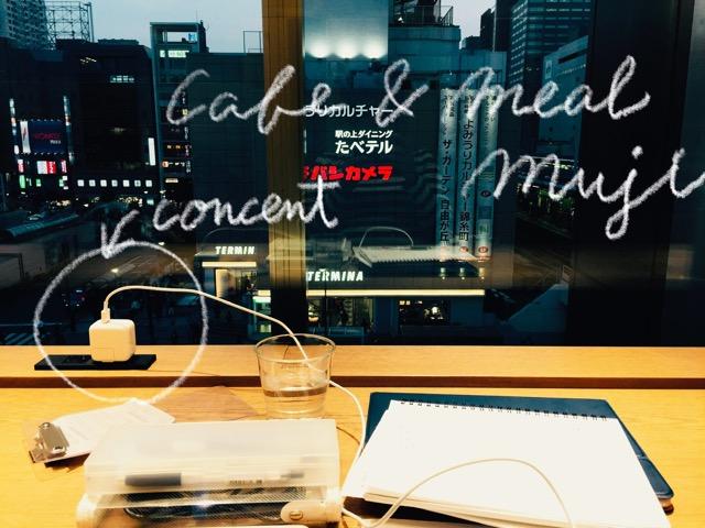 Cafe & Meal MUJI錦糸町パルコの窓側カウンター席