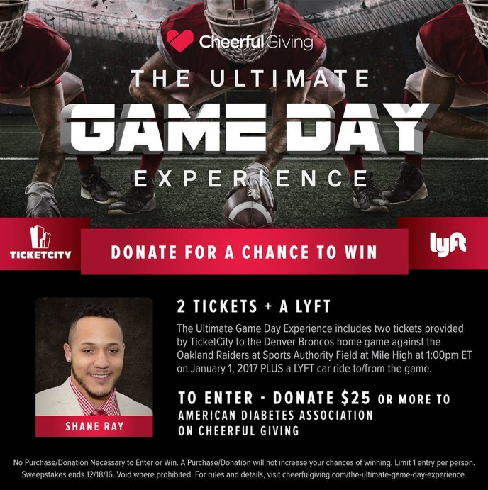 The Ultimate Game Day Experience, ADA Donations to earn free tickets to Broncos Game