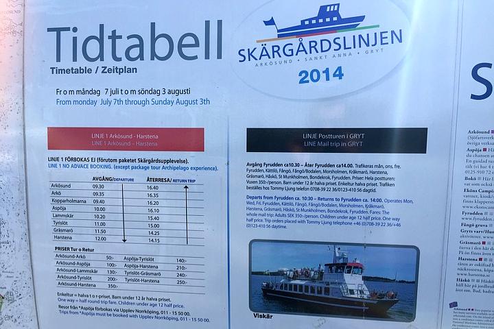 58 Grad Nord - Ohne eigenem Boot in die schwedischen Schären - Fahrplan Scherenboote Tyrislöt