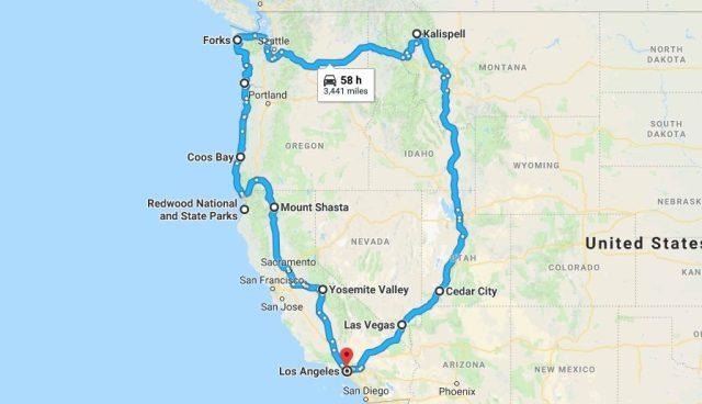 Prius Road Trip Map