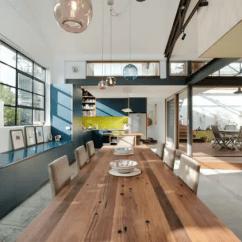 Home Depot Kitchens Kitchen Storage Hutch 从仓库到家庭住宅 超节能环保改造案例 从木甲板走下来就是另一端的客厅 木制天花板已内嵌了简单的照明设备