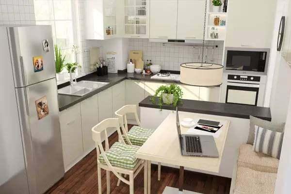 small kitchen table set white 既是厨房又是餐厅 十款餐厨一体设计推荐 同样是l型小厨房 增加了吊柜设计 存储空间更为丰富 餐桌装饰和厨房设计浑然一体 清新的绿色透露着田园的气息