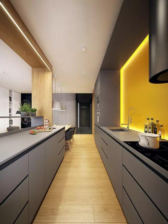 grey kitchen backsplash safe shoes 高级灰厨房 男人的最爱 灰色并不总是低调的 适当地为厨房注入鲜艳的色彩 用亮色 黄光等打造全新的视觉 格调灰 厨房就这样悄然诞生