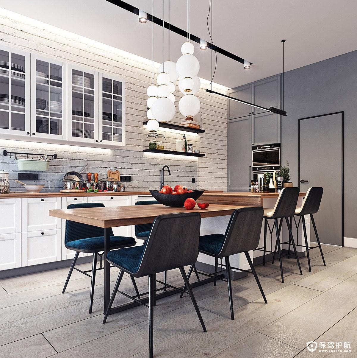 navy blue kitchen decor cabinets online 小户型设计 极简主义风格的小户型装修 生活的蓝色绿洲 轻木台面和白砖后挡板与这间厨房的海军蓝色椅子形成鲜明对比