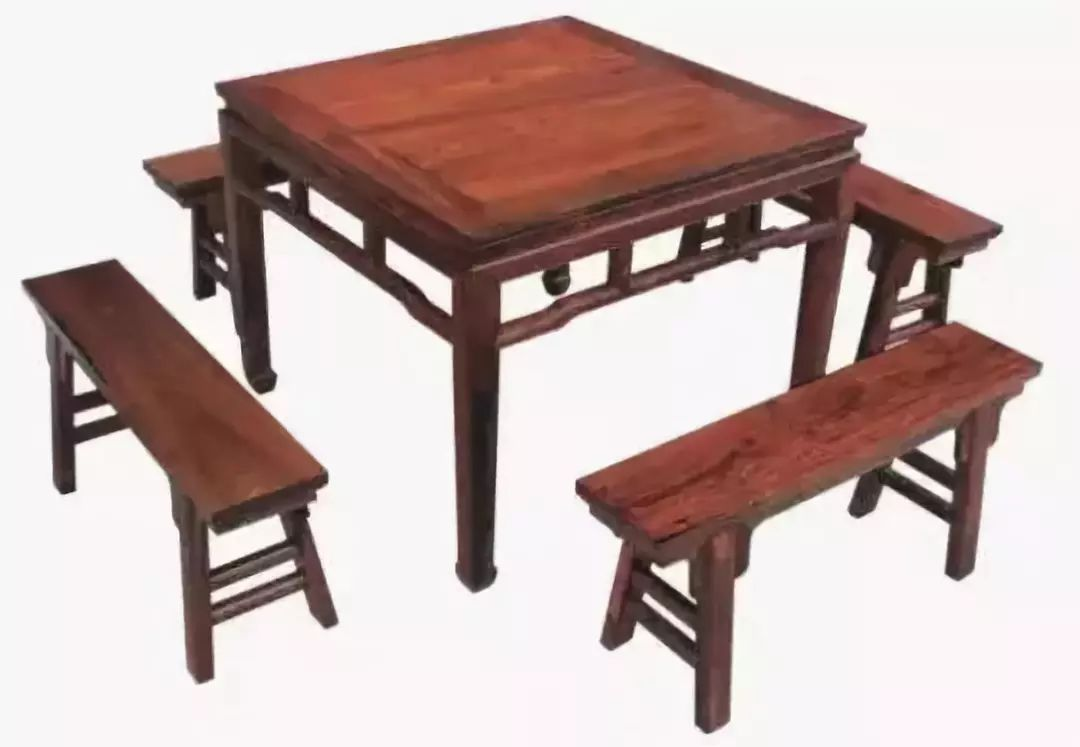 Eight Immortals Table: A square table with four benches surrounding it.