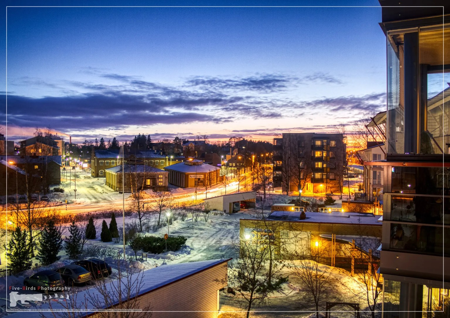Night shot over the rooftops of the snowy Finnish town of Rauma