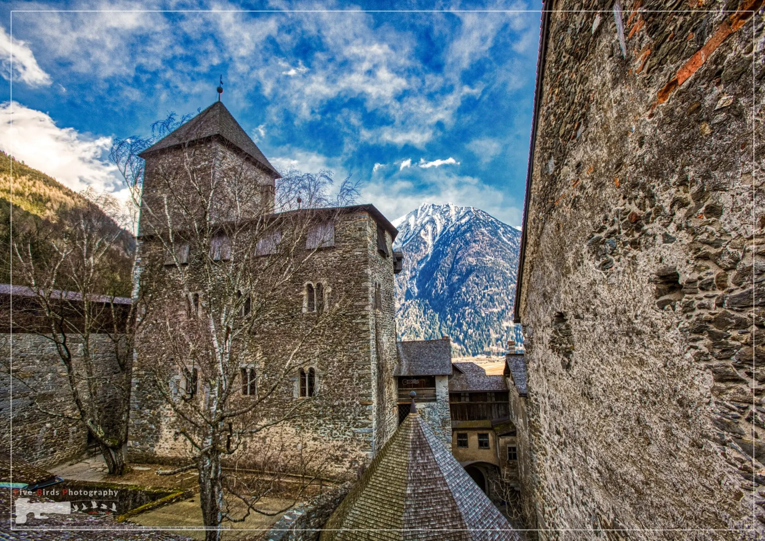 Shot of the Sand in Taufers castle in the Tyrolean Alps, Italy