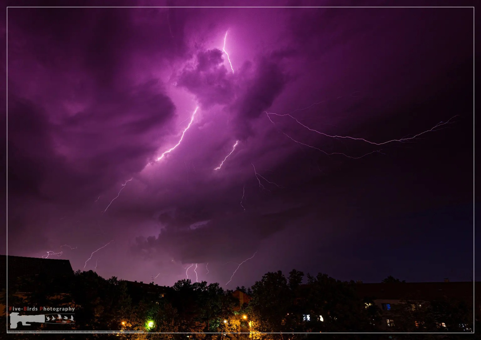 Thunderstorm at evening above the city of Erlangen, Bavaria, Germany