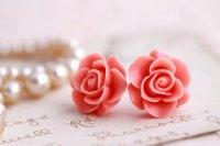 Pink Rose Earrings, Rose Stud Earrings, Flower Earrings ...