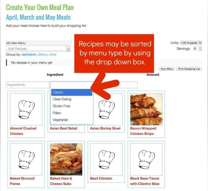 recipe menu type drop box
