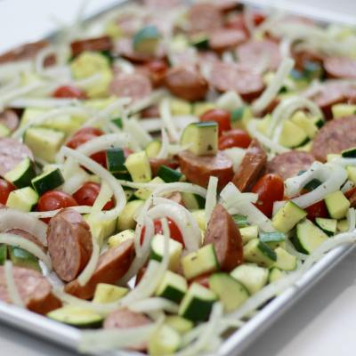 One Pan Sausage with Zucchini and Onions