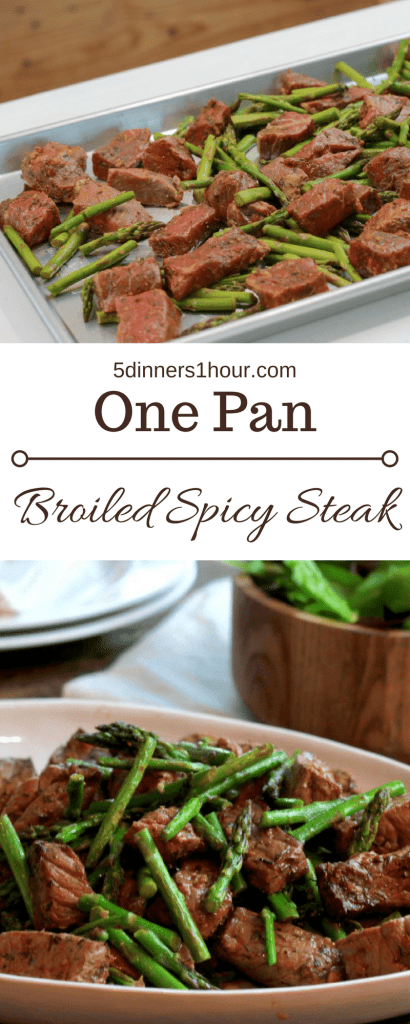 ONE PAN Spicy Steak Bites! Dinner in under 15 minutes fridge to table. YUM! We can actually have steak on a weeknight now. | 5dinners1hour.com