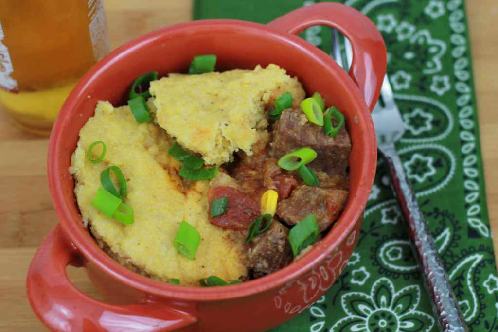 Slow Cooked BBQ BEEF with Cornbread Topping. Love how this all cooks in the same pot. Easy make ahead recipe. | 5dinners1hour.com