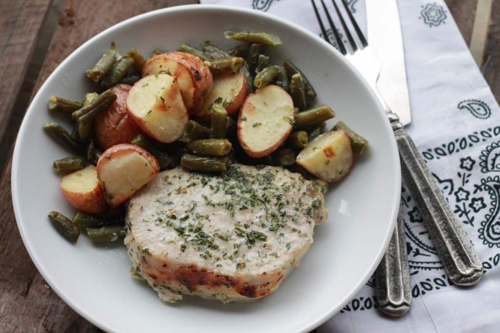 ONE PAN Ranch Pork Chop Dinner. We LOVED this. Not a crumb leftover. Super easy one pan dinner. | 5dinners1hour.com