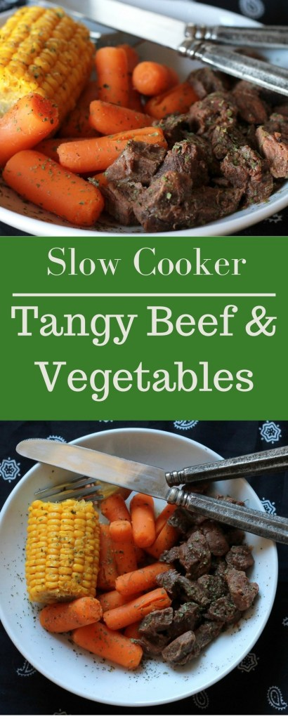 Slow Cooker Tangy beef with vegetables. A full meal in one pot! | 5dinners1hour.com