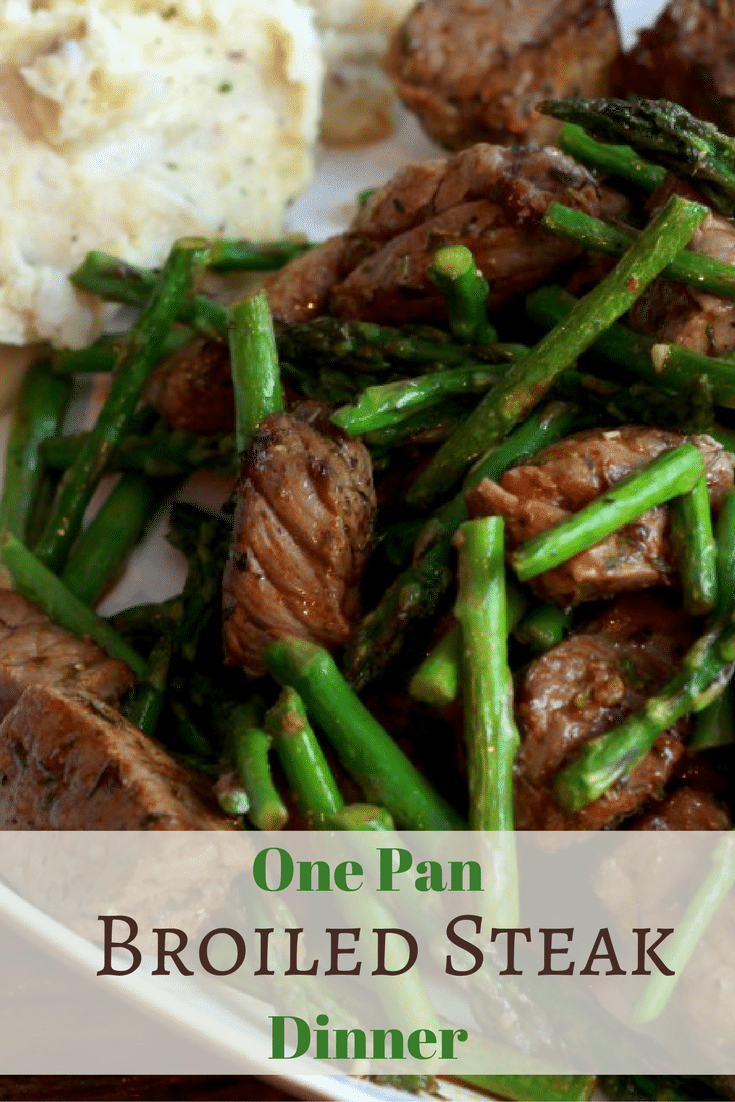 One pan broiled spicy steak 5 dinners in 1 hour one pan spicy steak bites with asparagus broiled and cooked for dinner in under 15 ccuart Image collections