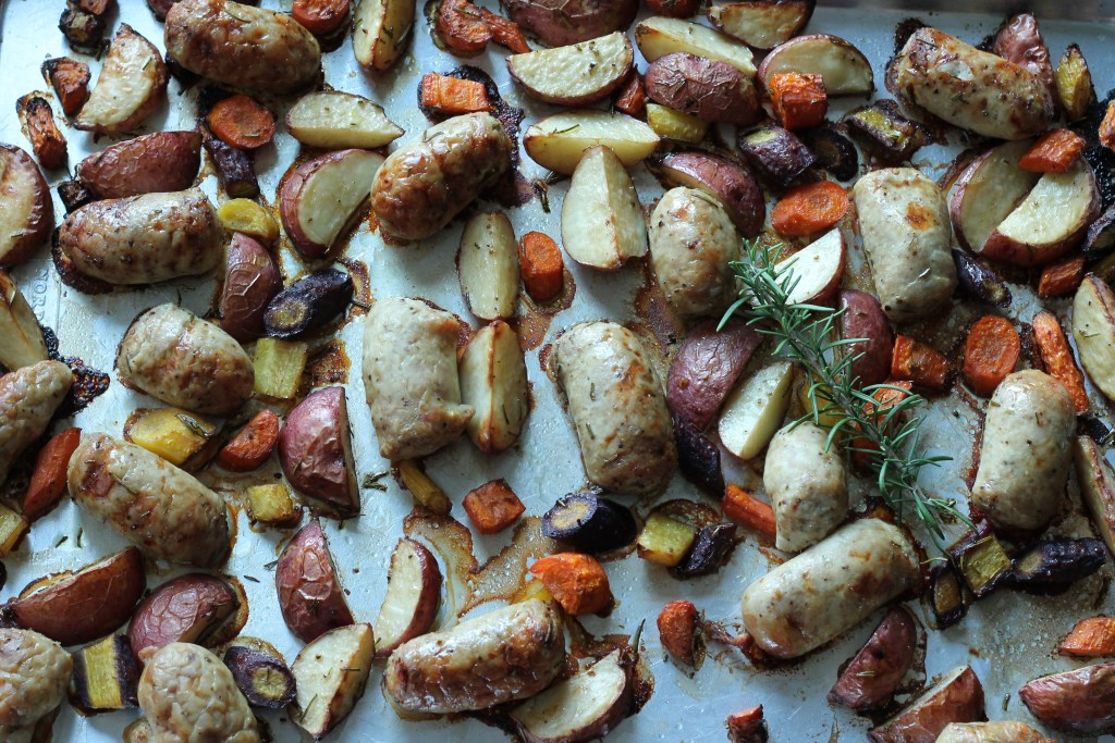 Italian Sausage Dinner with quartered potatoes and sliced carrots baked on One Pan | 5dinners1hour.com
