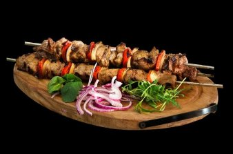 Organic skewer-shashlik, restaurant 5Elements Rijnsaterwoude