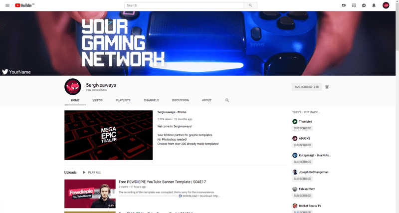 Gaming YouTube Banner Example