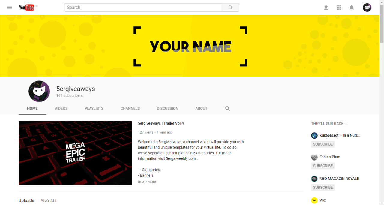 Blue YouTube Example
