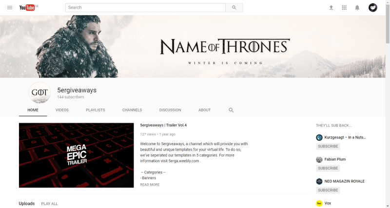 Game of Thrones Banner Example